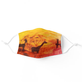Painted Africa Safari with Lovely Steppe Giraffes Adult Cloth Face Mask