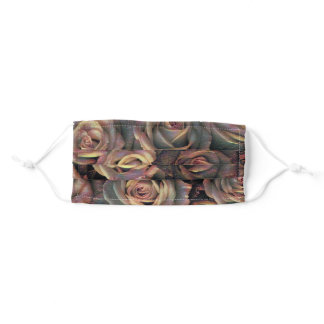 Painting of brown orange copper and gold roses adult cloth face mask