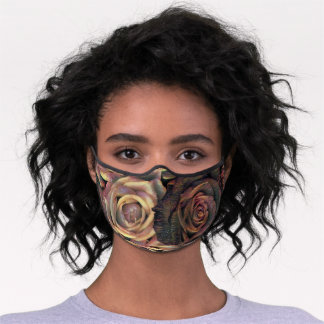 Painting of brown, orange, copper, and gold roses premium face mask