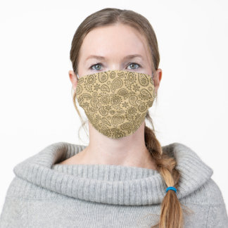 Paisley Bandana Kerchief - Beige Khaki Adult Cloth Face Mask