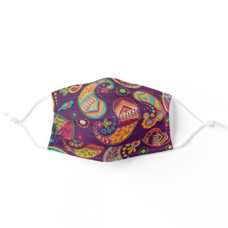 Paisley Floral Flowers Purple Yellow Pretty Adult Cloth Face Mask