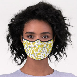 Paisley Floral Pattern - Goldenrod Yellow | Gray Premium Face Mask