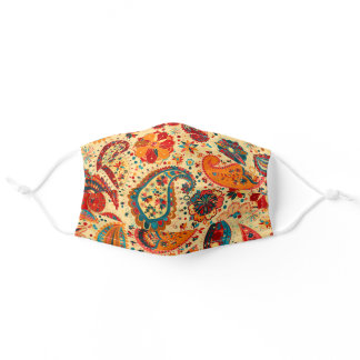 Paisley Floral Pretty Flowers Orange Red Blue Adult Cloth Face Mask