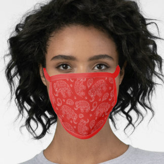 Paisley Indian Elephants Design in Red and White Face Mask