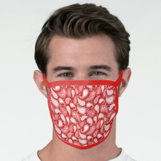Paisley Pattern Bandana Style in Red and White Face Mask