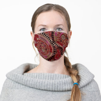 Paisley pattern burgundy mauve pink black & white adult cloth face mask