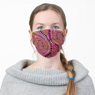 Paisley pattern burgundy red caramel & hot pink adult cloth face mask