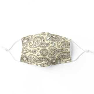 Paisley Pattern yellow brown Sepia Adult Cloth Face Mask