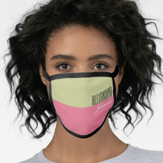 Pale Green and Pink Modern Name Monogram Face Mask