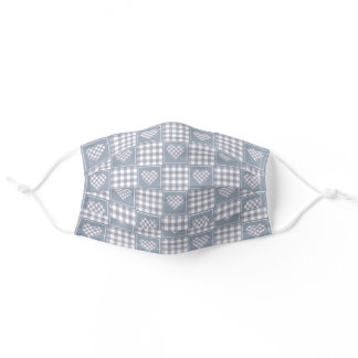Pale Grey and White Checkered Plaid Tartan Hearts Adult Cloth Face Mask