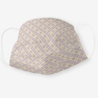 Pale Lavender and Yellow Checkered Plaid Pattern Adult Cloth Face Mask