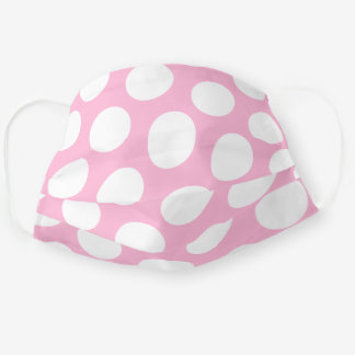Pale Pink and Big White Polka Dot Adult Cloth Face Mask