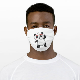 Panda at Fitness with Headband Adult Cloth Face Mask