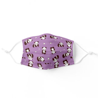 Panda Bears Hearts Purple Cloth Face Masks