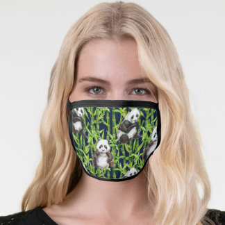 Panda With Bamboo Watercolor Pattern Face Mask