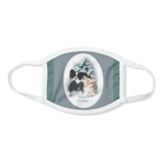 Papillon Christmas Face Mask