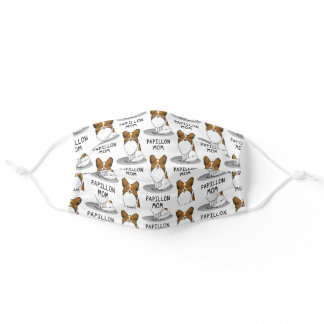 Papillon Mom Pap Mom (white & sable) Cute Dog Mom Adult Cloth Face Mask