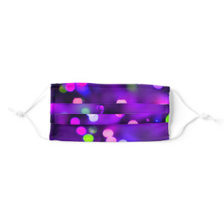 Party Time Purple Colorful Lights Adult Cloth Face Mask