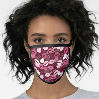Passionate Red Pink Lips Kissing Pattern Face Mask