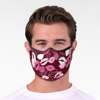 Passionate Red Pink Lips Kissing Pattern Premium Face Mask