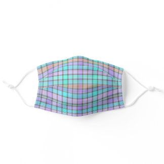 Pastel Blue Turquoise Violet Pink Check Plaid Adult Cloth Face Mask