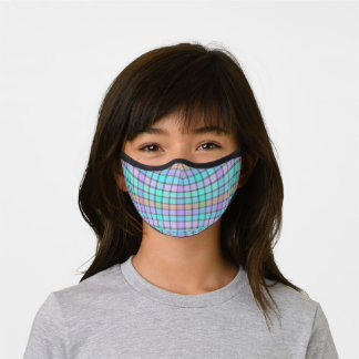 Pastel Blue Turquoise Violet Pink Check Plaid Premium Face Mask
