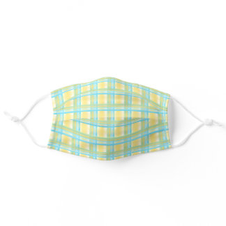 Pastel Blue Turquoise Yellow Easter Plaid Pattern Adult Cloth Face Mask