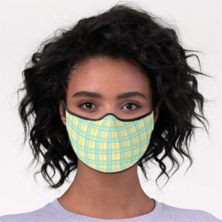 Pastel Blue Turquoise Yellow Easter Plaid Pattern Premium Face Mask