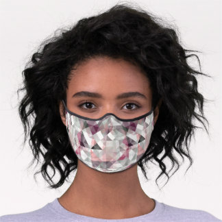 Pastel Blush Pink Mauve Taupe Gray Polygon Pattern Premium Face Mask
