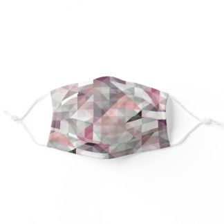 Pastel Blush Pink Mauve Taupe Winter Gray Polygon Adult Cloth Face Mask