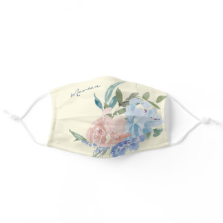 Pastel Floral Cute Watercolor Flower Design Custom Adult Cloth Face Mask