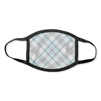 Pastel Mint and Grey Diagonal Plaid Face Mask