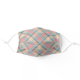 Pastel Peach Mint Tartan Stylish Modern Pattern Adult Cloth Face Mask