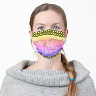 Pastel petals flower over golden check pattern adult cloth face mask