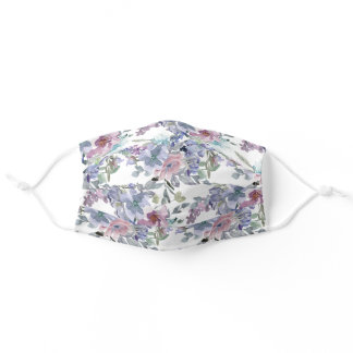 Pastel Pink Blue Flowers Sage Green Leaves White Adult Cloth Face Mask