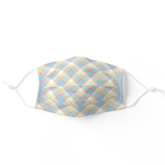 Pastel Pink Blue Green White Easter Plaid Pattern Adult Cloth Face Mask