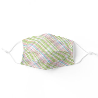 Pastel Pink Blue Green White Easter Plaid Tartan Adult Cloth Face Mask
