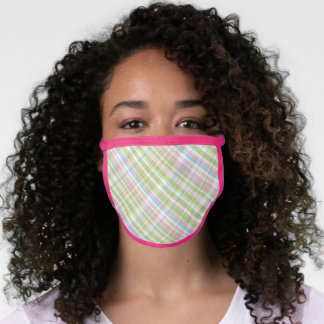 Pastel Pink Blue Green White Easter Plaid Tartan Face Mask