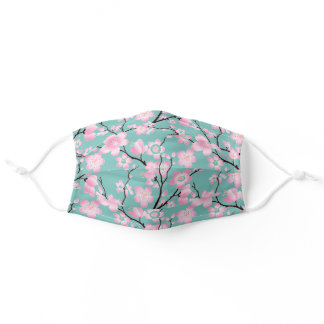 Pastel Pink Cherry Tree Spring Floral Blossom Art Adult Cloth Face Mask