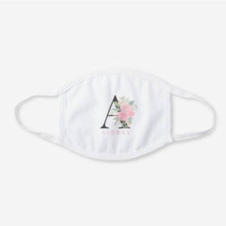 Pastel pink floral watercolor flowers monogram white cotton face mask