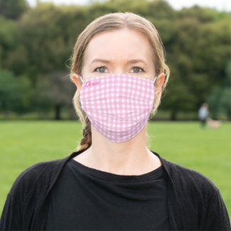 Pastel Pink Gingham Pattern Adult Cloth Face Mask