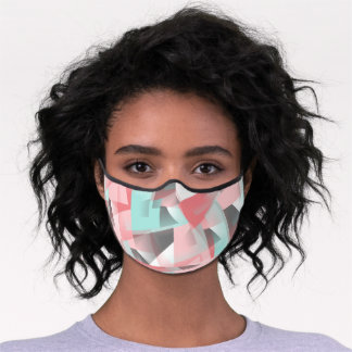 Pastel Pink Mint Green Gray White Polygon Pattern Premium Face Mask