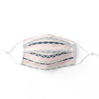 Pastel Pink Navy Blue Beige Moroccan Pattern Adult Cloth Face Mask