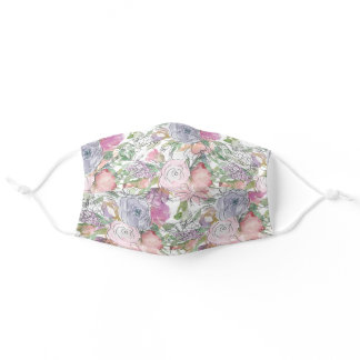 Pastel Pink Purple Hand Drawn Line Flowers Adult Cloth Face Mask