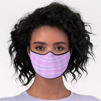 Pastel Pink Purple Violet Blue Easter Tartan Plaid Premium Face Mask