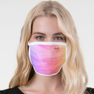 Pastel Pink Purple Your Name Face Mask
