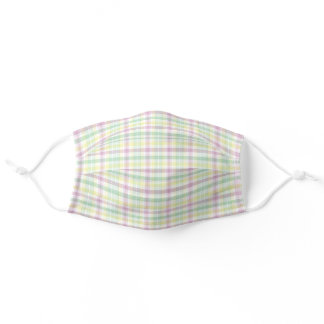 Pastel Pink Yellow Mint Green White Easter Plaid Adult Cloth Face Mask