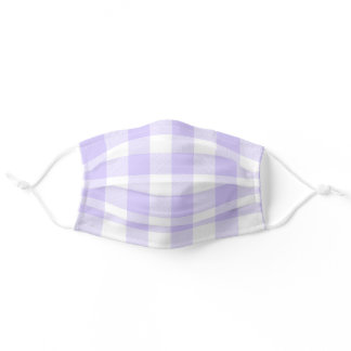 Pastel Purple and White Gingham Pattern Adult Cloth Face Mask