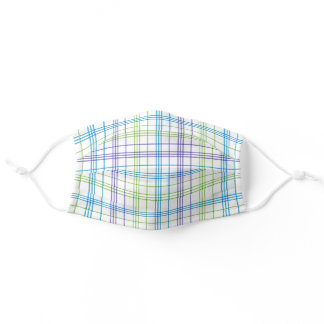 Pastel Purple Blue Lime Green White Easter Plaid Adult Cloth Face Mask