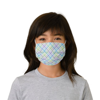 Pastel Purple Blue Lime Green White Easter Plaid Kids' Cloth Face Mask